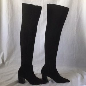 NWT  black suede pointed toe thigh high Zara boots